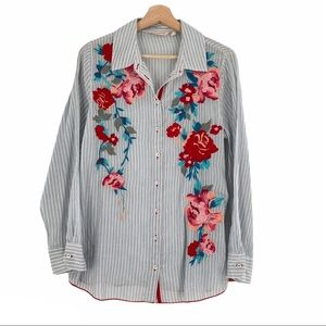 Soft Surroundings Floral Embroidered Stripe Shirt